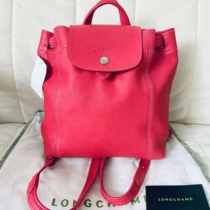NWT $470 Longchamp le pliage leather backpack xs
